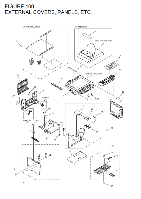 Canon imageCLASS MF4122 Parts List and Diagrams