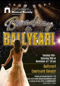 Poster for concerts in Courtyard Theatre, Ballyearl, November 2017
