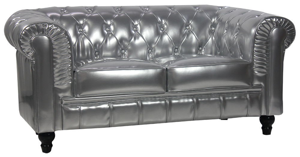 benjamin classical 2 seater pu leather sofa silver