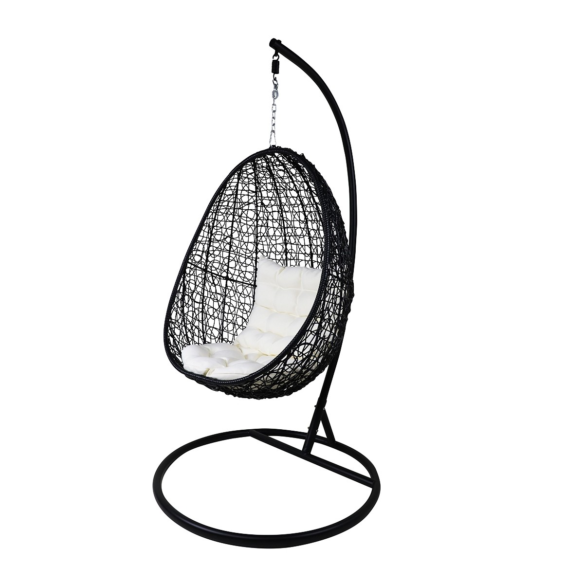 Black Cocoon Swing Chair White Cushion Furniture Home Decor Fortytwo