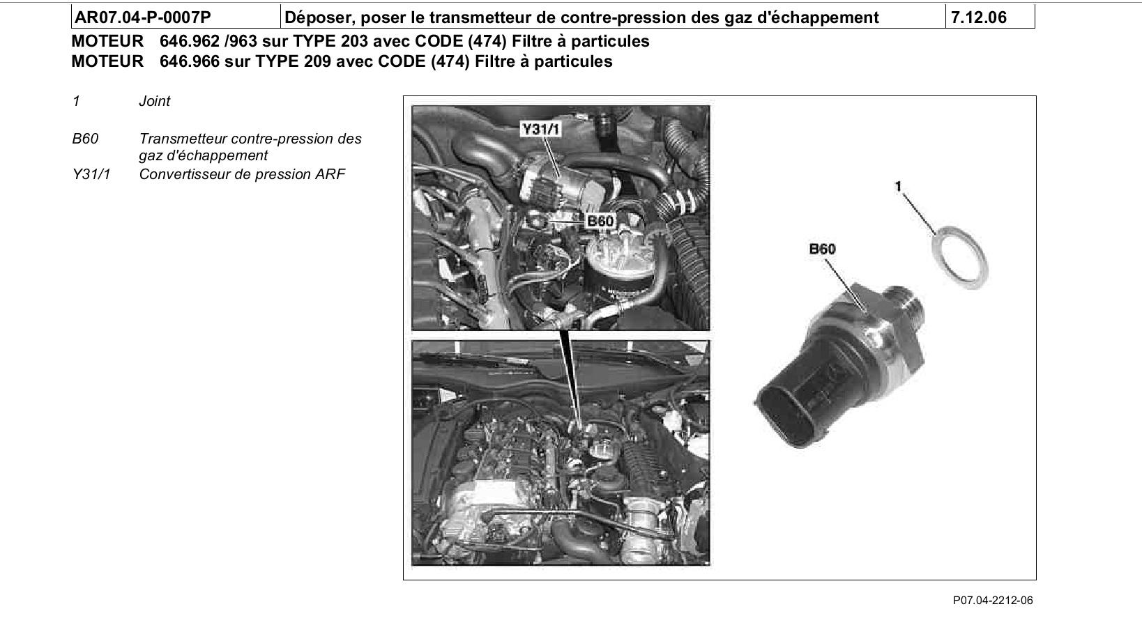 Emplacement Capteur De Pression Gaz D Echappement C220 Cdi