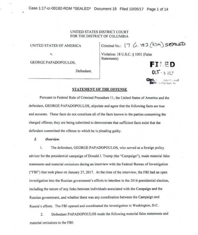 Экс-советник штаба Трампа Пападопулос признался во лжи ФБР
