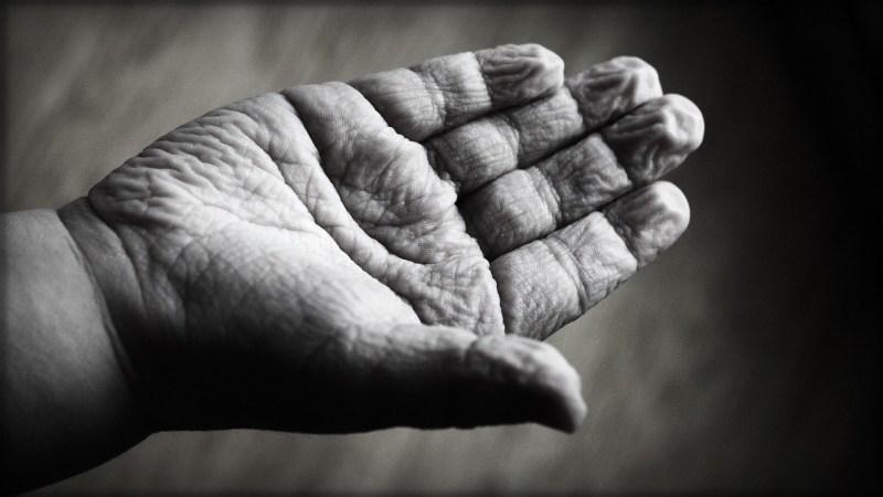 wrinkled hand