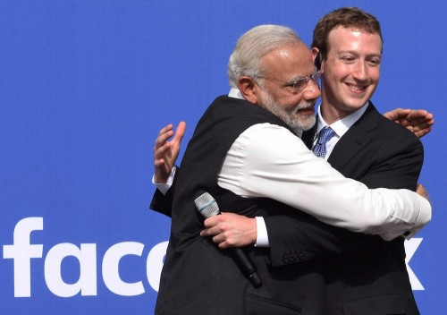 Narendra Modi with CEO of Facebook, Mark Zuckerberg