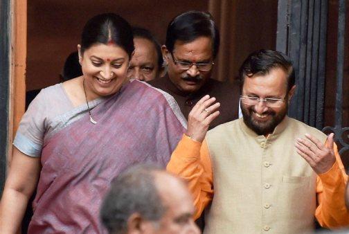 New Delhi: HRD Minister Smriti Irani with new Cabinet minister Prakash Javadekar after a Cabinet meeting at South Block in New Delhi on Tuesday. PTI Photo by Vijay Kumar Joshi (PTI7_5_2016_000149B)