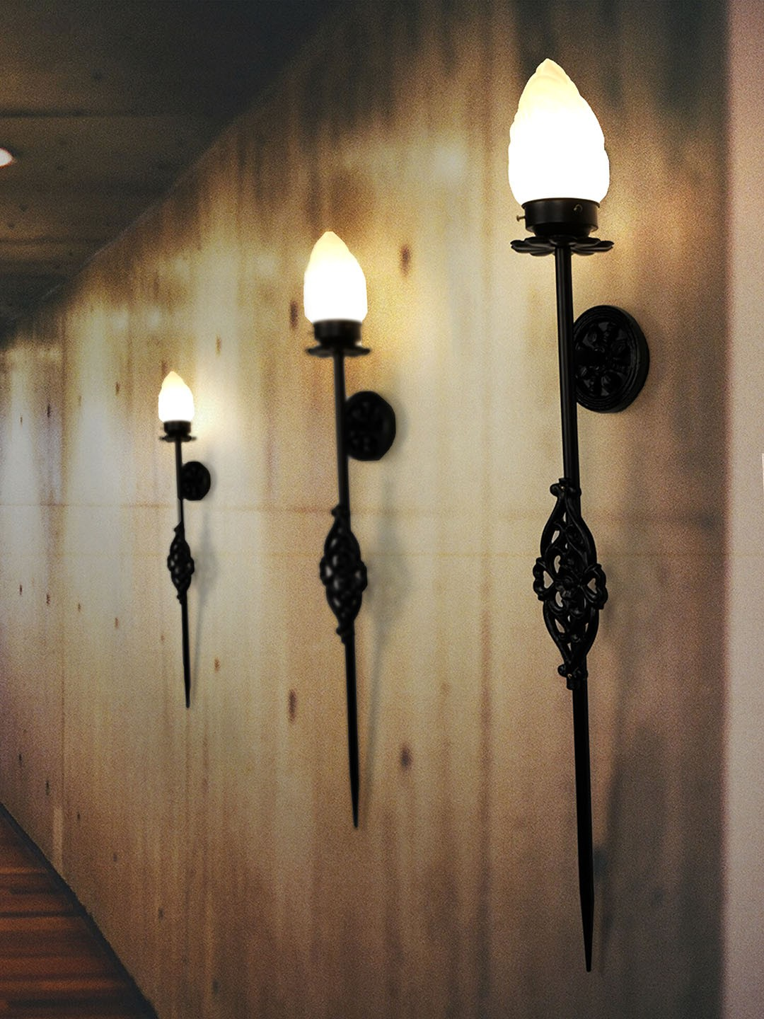 wrought iron black torch sconce flame glass mashal wall light