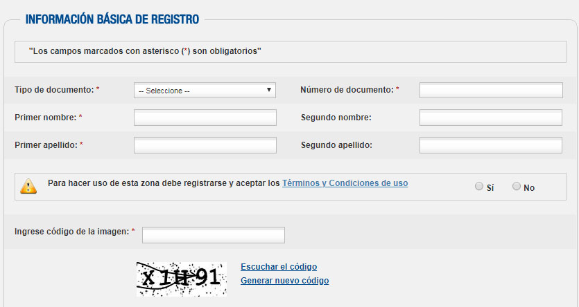 Formulario de registro Colpensiones