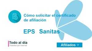 certificado de afiliación sanitas, como solicitarlo por Internet