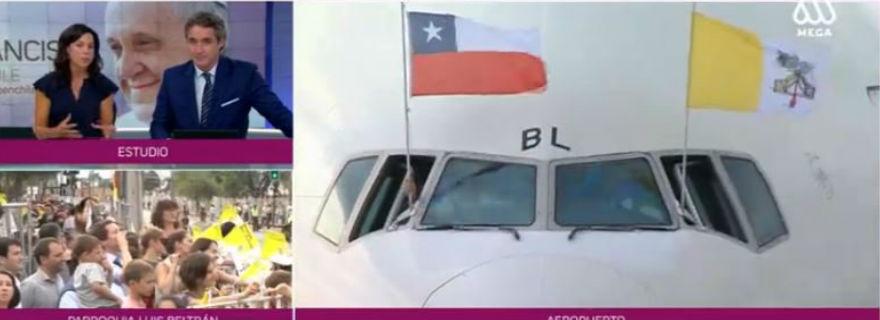 Mega lideró la cobertura de la llegada del Papa Francisco a Chile