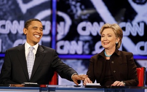 Reuters: Clinton and Obama, LA, 13/01/08 in Spiegel