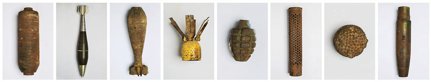 Typical items excavated by MAG in Xieng Khouang include: a rocket; a Blu-26 'bombie'; a cartridge casing, used to house propellant; a hand grenade; a Blu-3 'bombie'; a mortar; an 81mm HE Frag mortar; a 20lb bomb.
