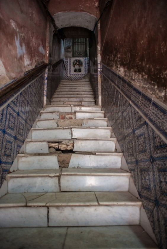 a staircase that is close to collapse in Old Havana