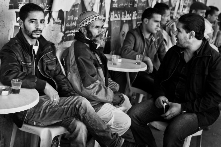 Men sit at the café, Tunis