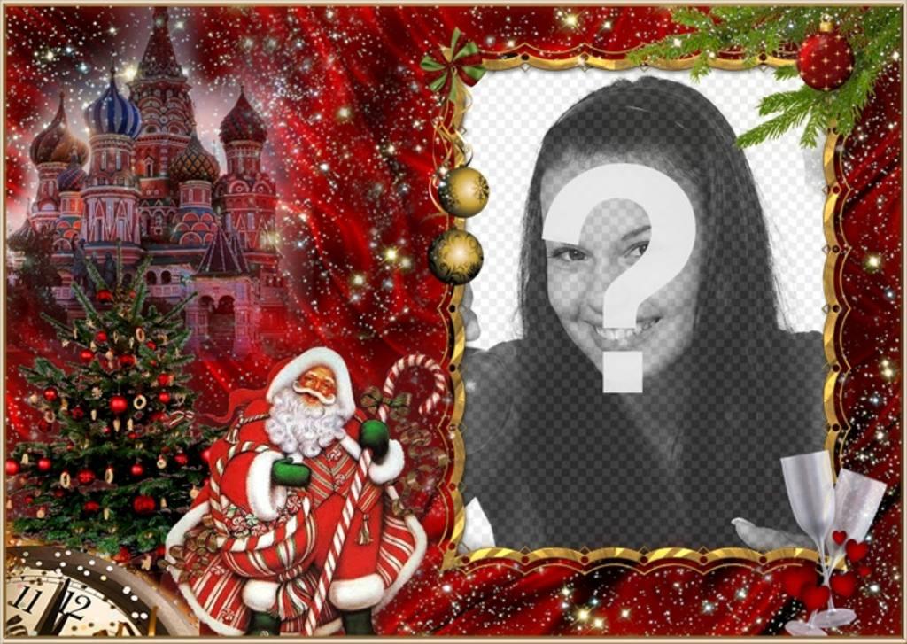 Elegante Fotomontaje De Navidad Y Santa Claus Para Aadir