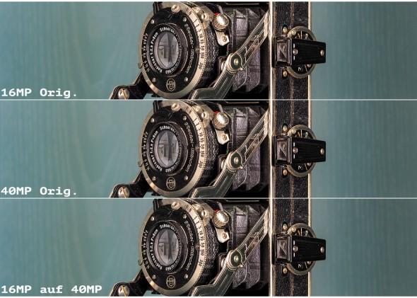 16 MP, 40 MP, 16 auf 40 MP verkleinert auf 1280 Pixel