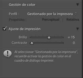 Lightroom gestion de color