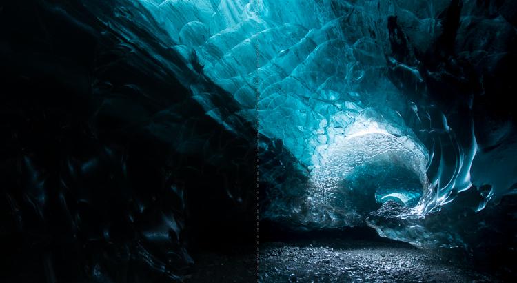 ijsgrot voor en na nabewerking in Lightroom