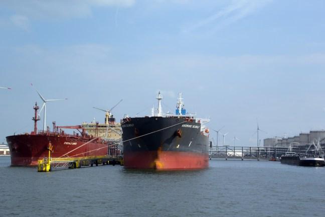 Kleurige schepen in haven van Antwerpen