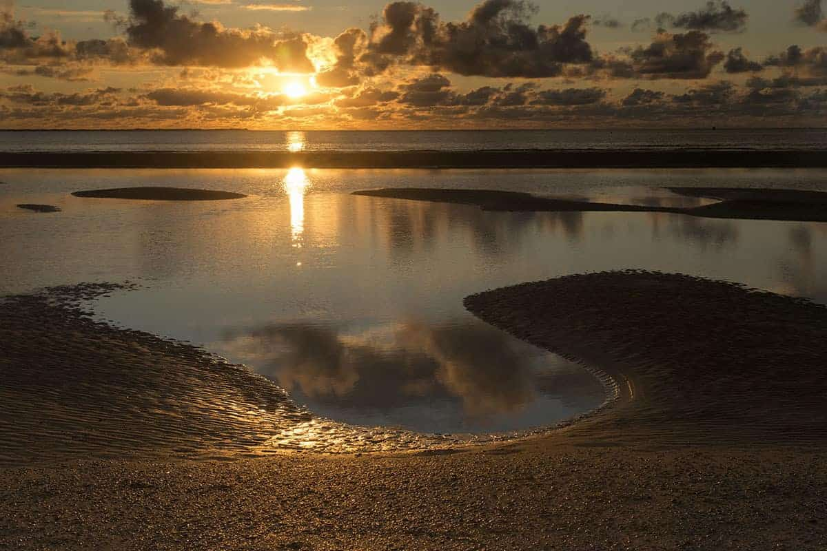 Fotoweekend Ameland - Spiegeling van de zon in de zee