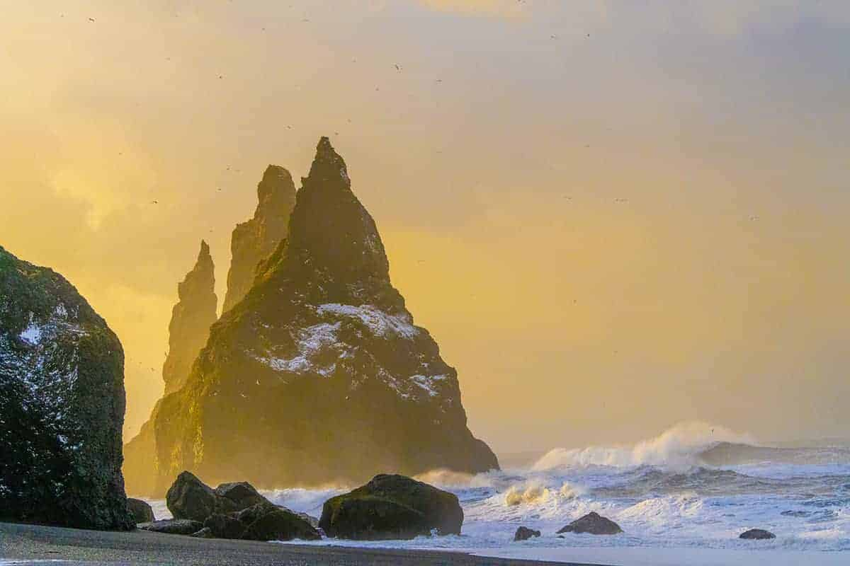 Fotoreis IJsland Reynisdrangar in ochtendzon