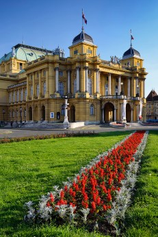 Croatian national theater in Zagreb, Croatia. A beautiful, neo-baroque building by architects Ferdinand Fellner and Hermann Helmer erected in 1895.