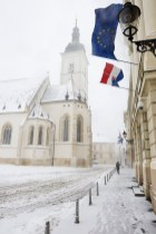 St. Marks' church in Zagreb, Croatia, during a snowstorm.