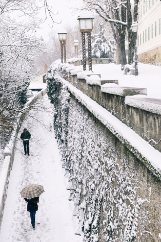 A romantic view of a popular upper town Zagreb walkway covered i