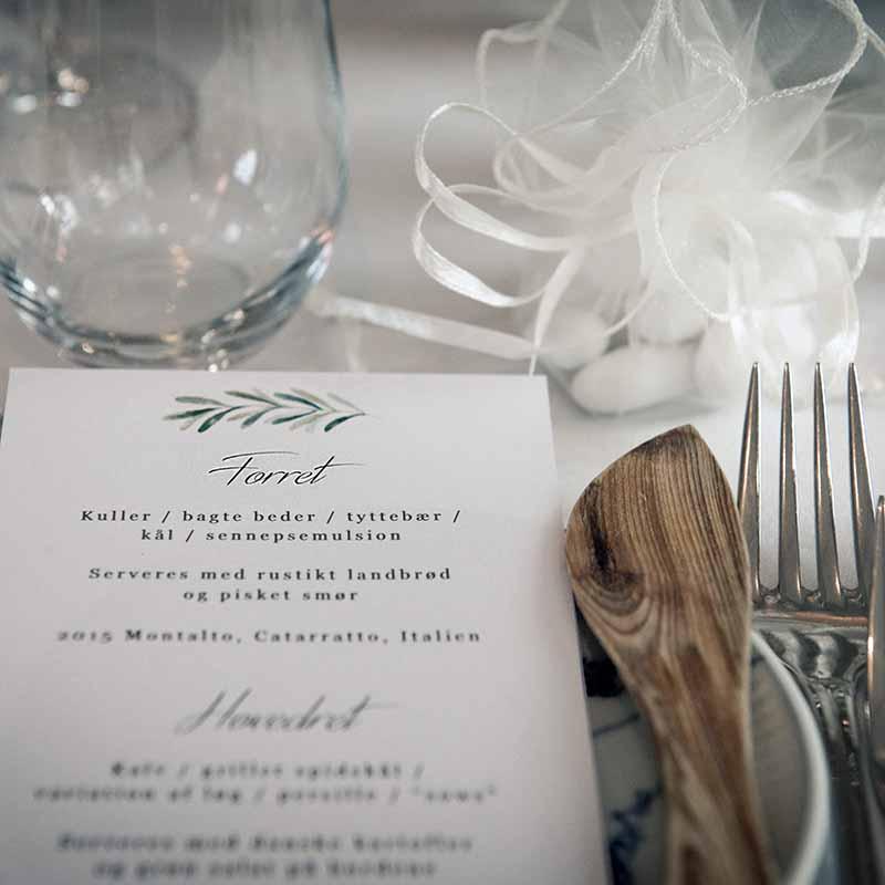 menu til bryllup i Randers