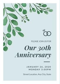 40th Wedding Anniversary Invitation 30th