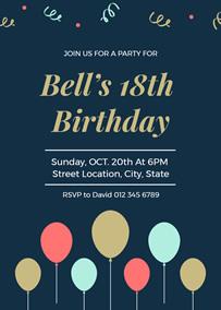 Framed 18th Birthday Invitation Template Balloon