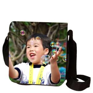 Kleine schoudertas met foto - zwart