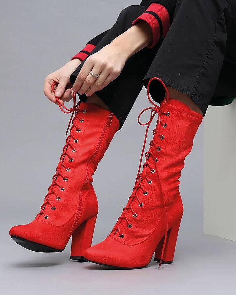 модная обувь ботинки красные шнуровка
