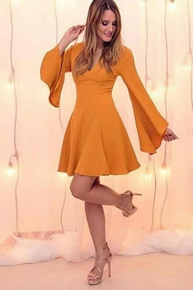 коктейльные платья оранж