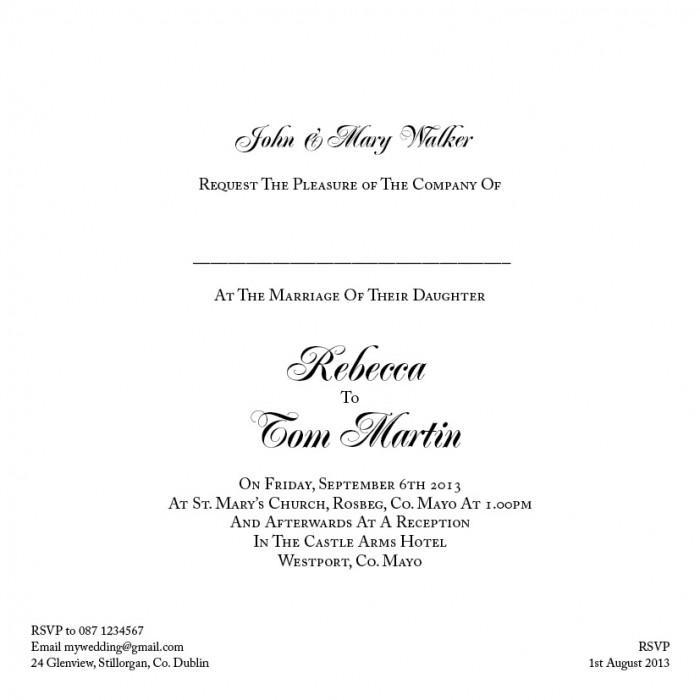 Formal Wedding Invitation Format