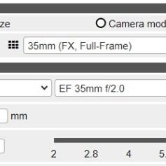Pannello Camera e Lens (C) - immagine dell'applicazione