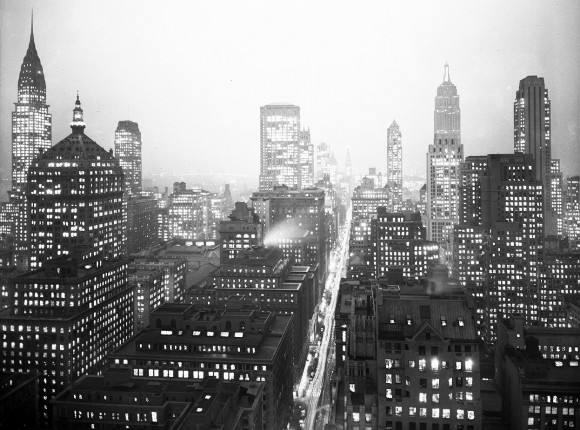 A night view of Midtown Manhattan, looking south from Madison Avenue and the 50's, ca. 1935-1941. (Courtesy NYC Municipal Archives)