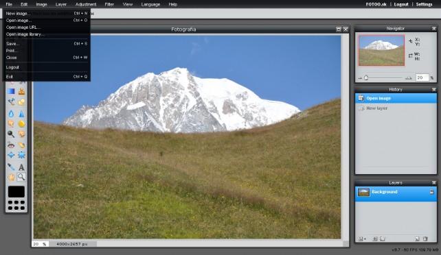 Ponuka menu File v editore Pixlr