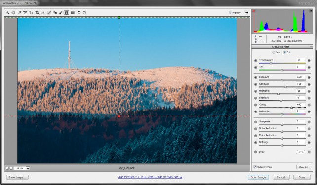 Prechodový filter v Adobe Camera Raw