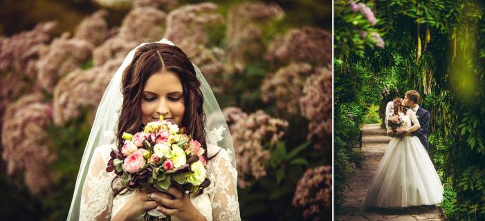 Verträumtes Hochzeitsbild mit Blumen aus dem Park.