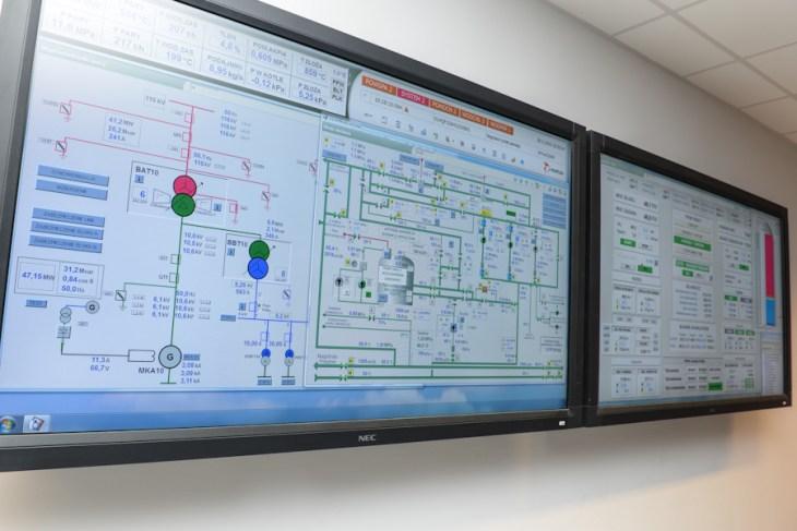 Monitor wpomieszczeniu sterowania elektrociepłownią