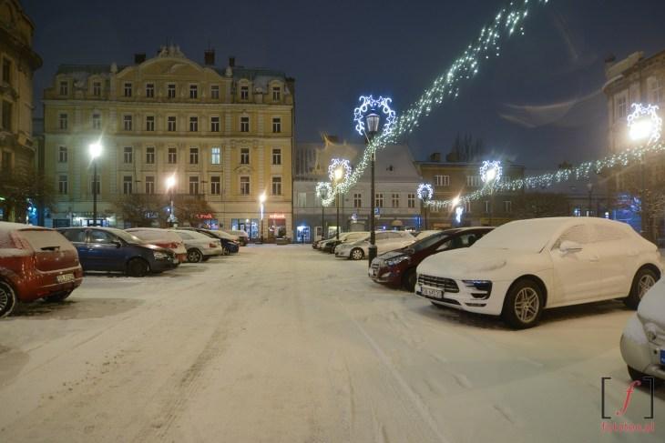 plac Wolności w Bielsku-Białej, fotografia zimą