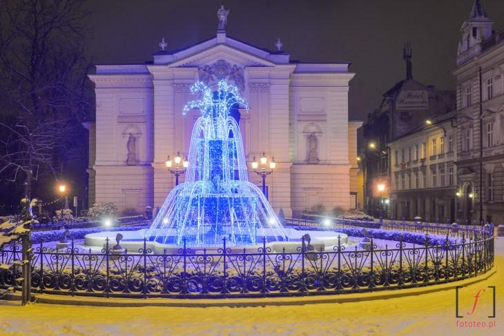 Teatr Polski i fontanna w Bielsku-Białej