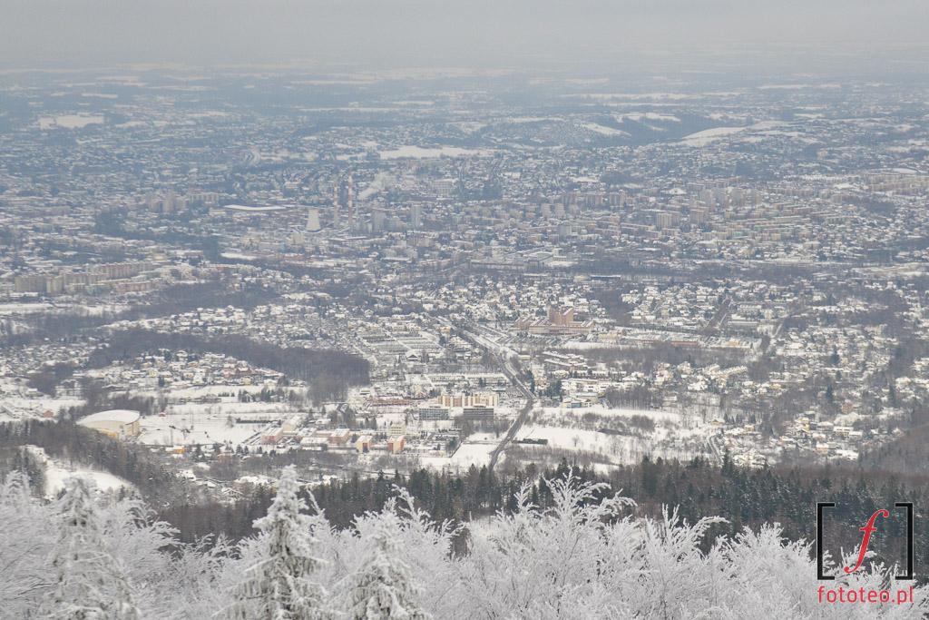 Bielsko-Biala zima, widok zSzyndzielni