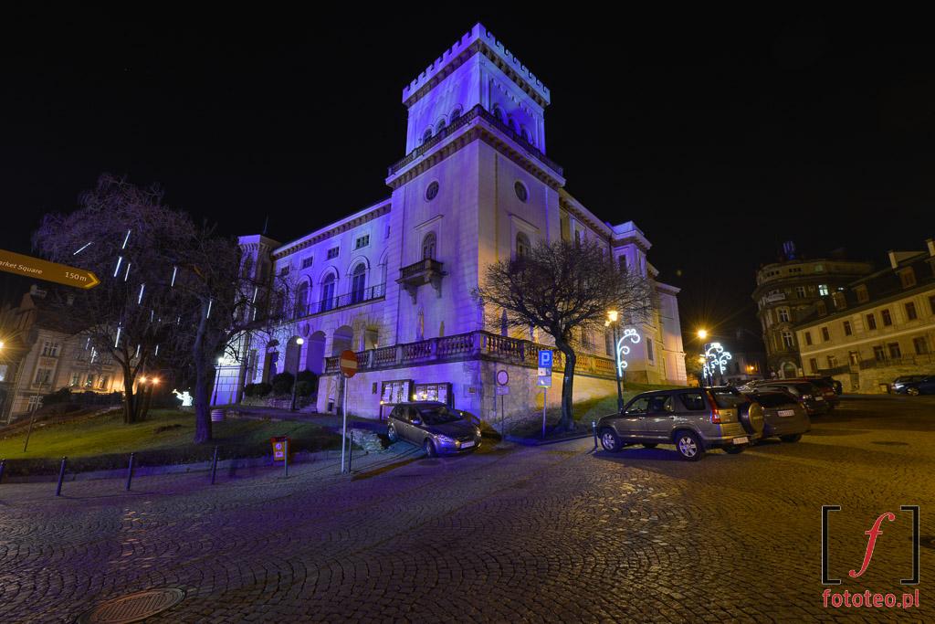 Zamek wBielsku-Bialej, fotografia nocna