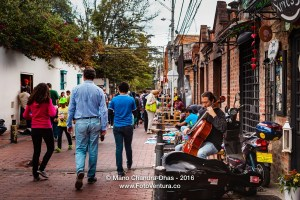 Bogota, Colombia - musician plays the Cello by the roadside.