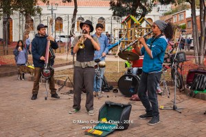 Bogota, Colombia - Group of musicians busking on Plaza Usaquén.