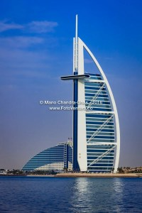 Dubai, UAE: The Burj Al Arab and Jumeirah Beach Hotels.