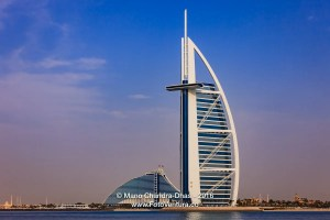 Dubai, UAE: The Burj Al Arab and Jumeirah Beach Hotels.