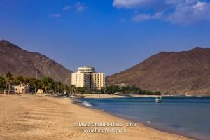 Khor Fakkan, UAE: Idyllic Beach and Hotel on Arabian Sea.