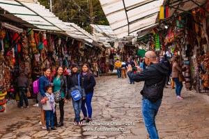 Bogota, Colombia - Tourists on the Andean peak of Monserrate